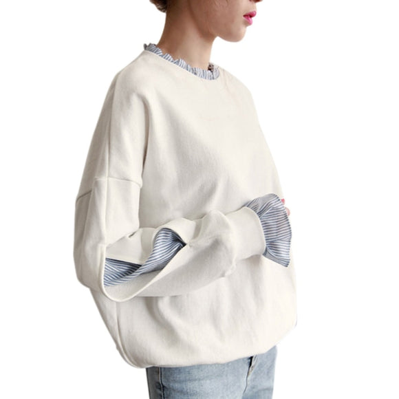 Women Loose Pullover Solid Gray Plus Size Spring Autumn - Layon&Loli