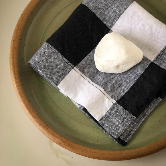 Black & White Buffalo Check Linen Napkins