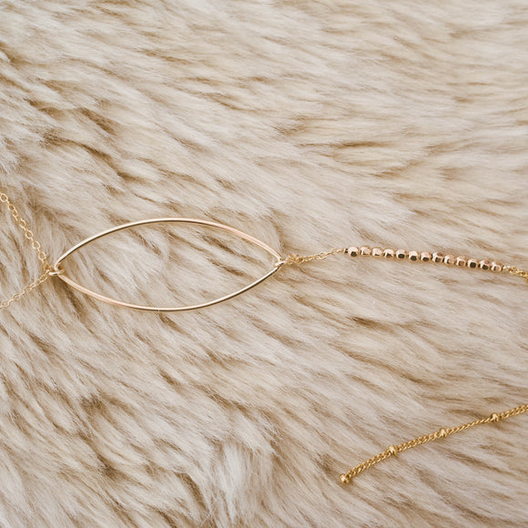 Gold Openwork Marquise Lariat Necklace