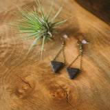 Triangle Lava Bead Earrings