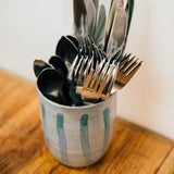 Handmade Striped Ceramic Utensil Holder