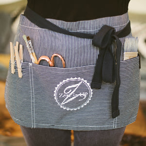 Short Pin Striped Waist Apron