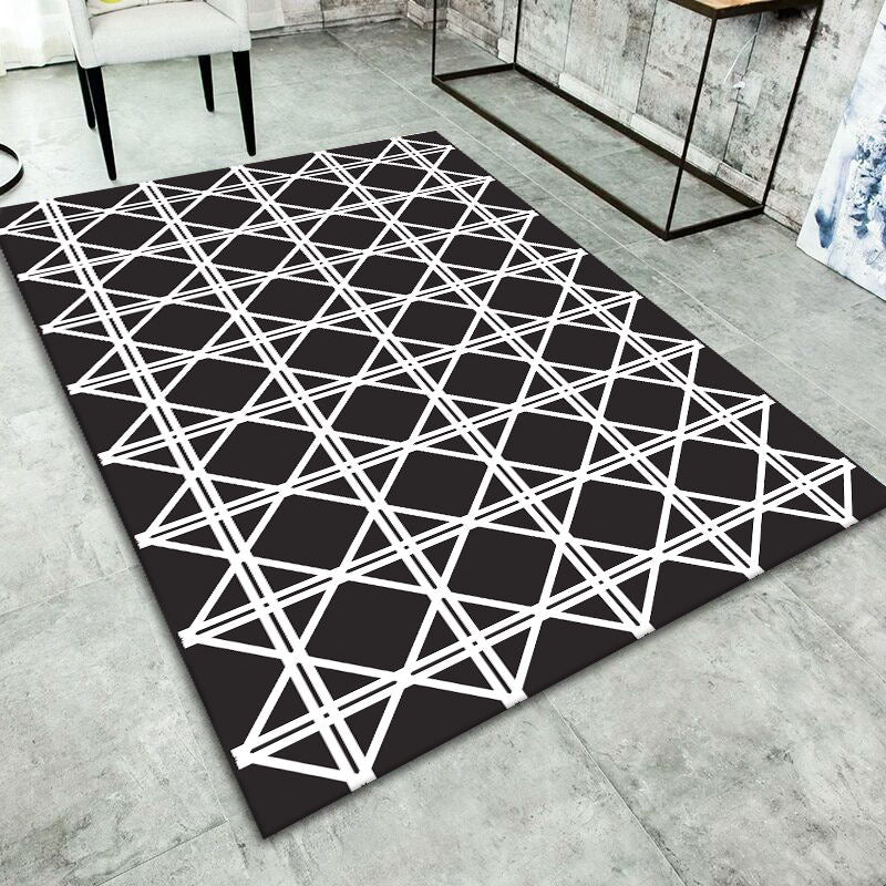 Geometric Black Carpet