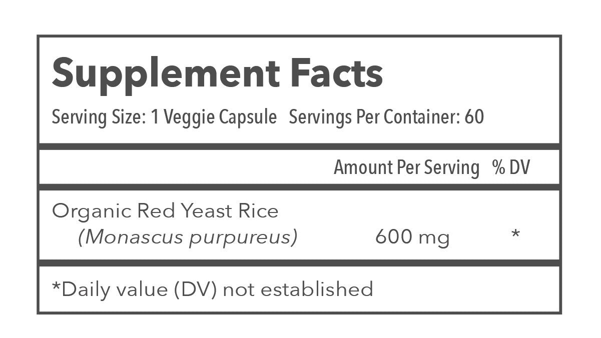 TRANSCEND Longevity Inc. Red Yeast Rice 600mg Supplement Facts
