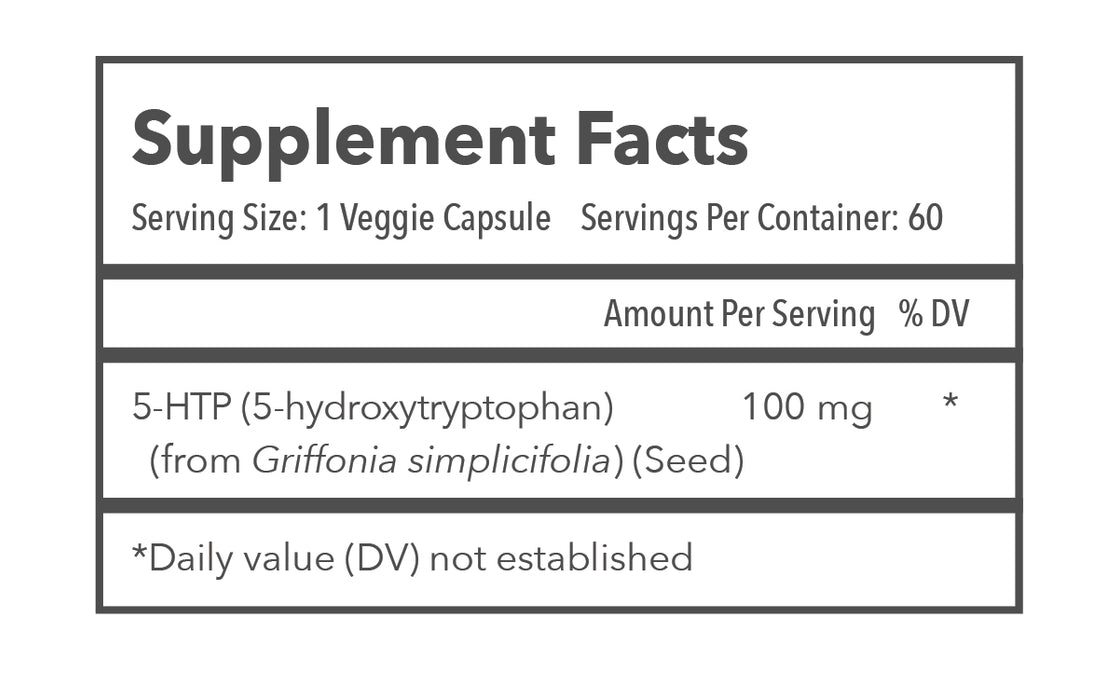 TRANSCEND Longevity Inc. 5-HTP Supplement Facts