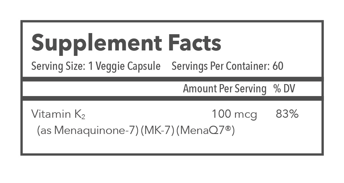 Vitamin K MK-7 Supplement Facts