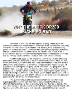DR200 Shoestring Budget Endurance Racing Setup In-Depth Walkthrough