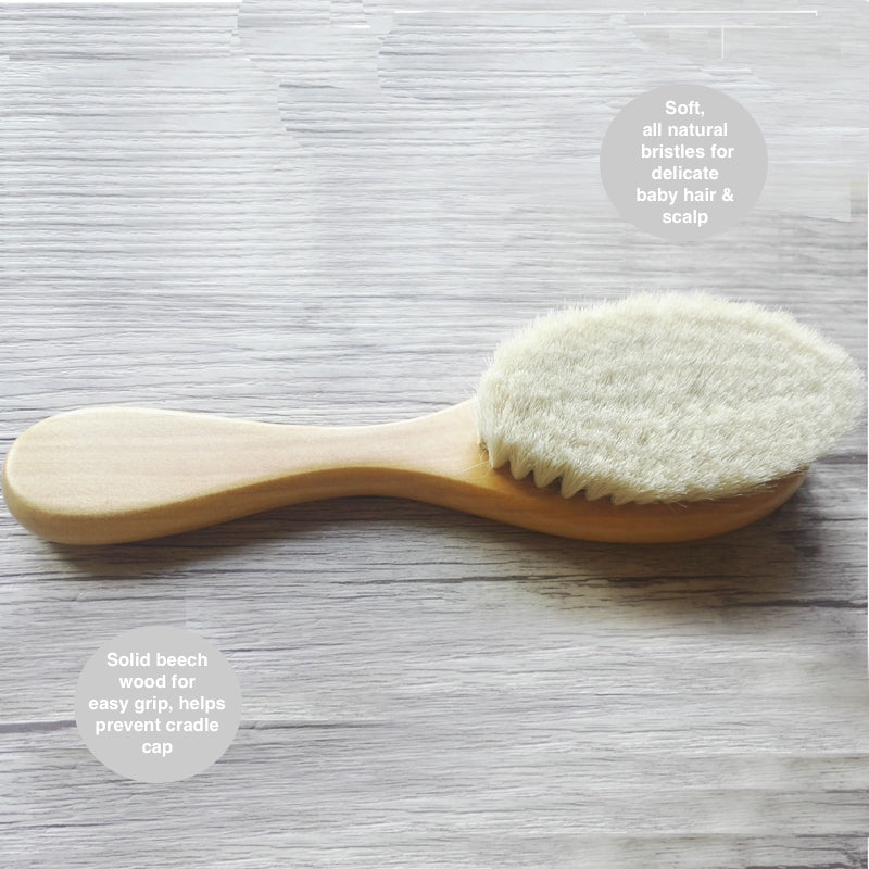 """t is for tame"" soft bristle brush goat hair baby registry gift"