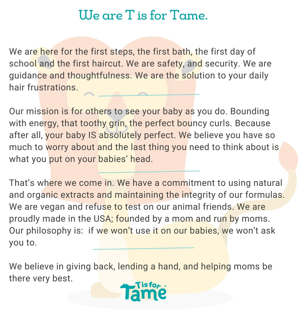 """""""t is for tame"""" hair care flyaways messy products for babies toddlers kids"""