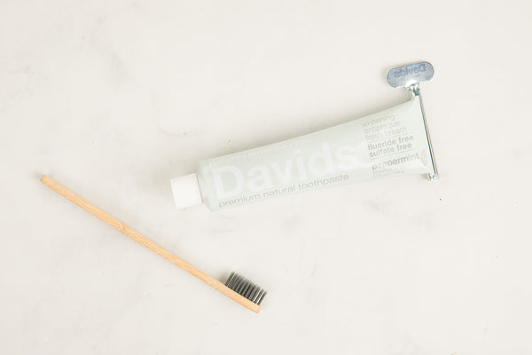 Davids Toothpaste and bamboo toothbrush