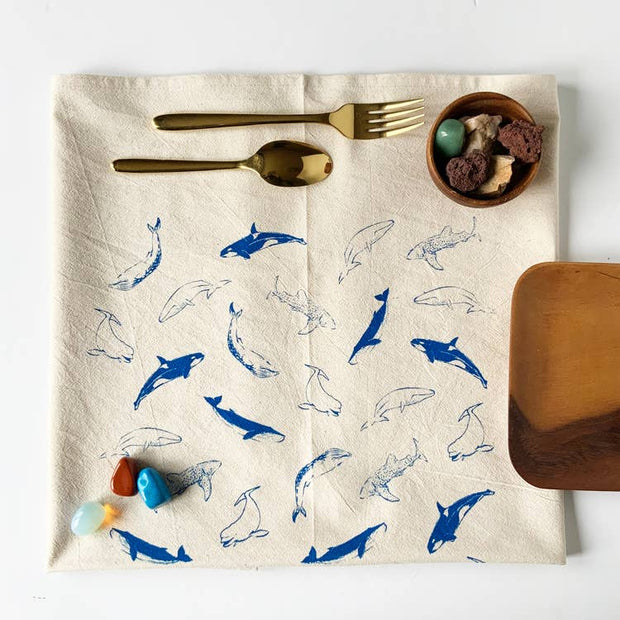 Whales Tea Towel - Blue