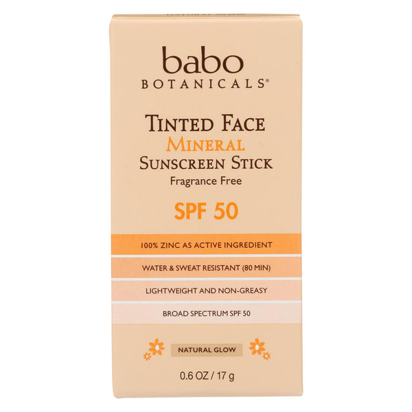 Babo Botanicals -  Tinted Face Mineral Sunscreen Stick - Spf 50 - Case Of 6 - 0.6 Oz.