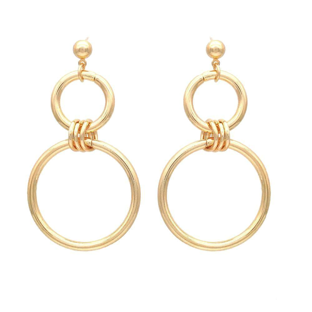 In A Perfect World Interconnected double-hoop dangle earring