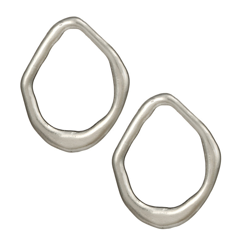 In A Perfect World silver irregular hoop earring stud