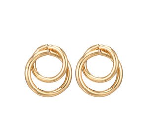 In A Perfect World Interlocked circle gold studs earring