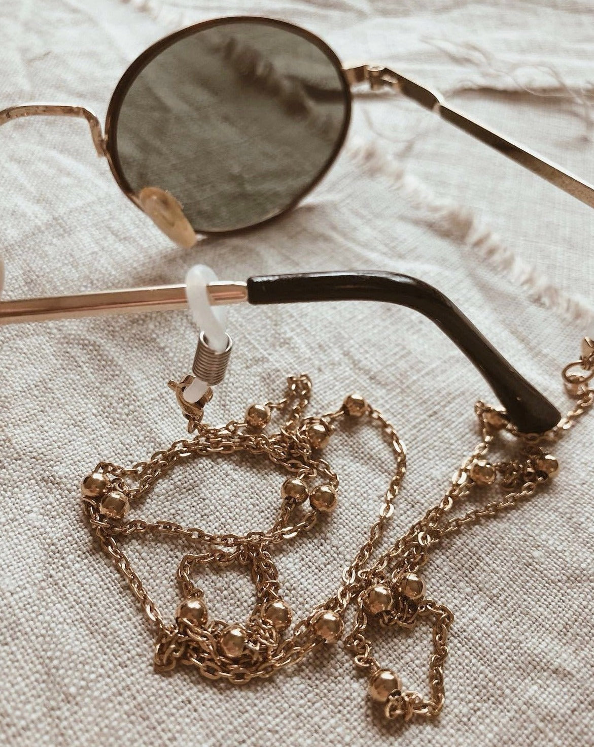 In A Perfect World IAPW accessories dainty beaded gold glasses chain