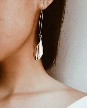 In A Perfect World gold leaf dangle earring