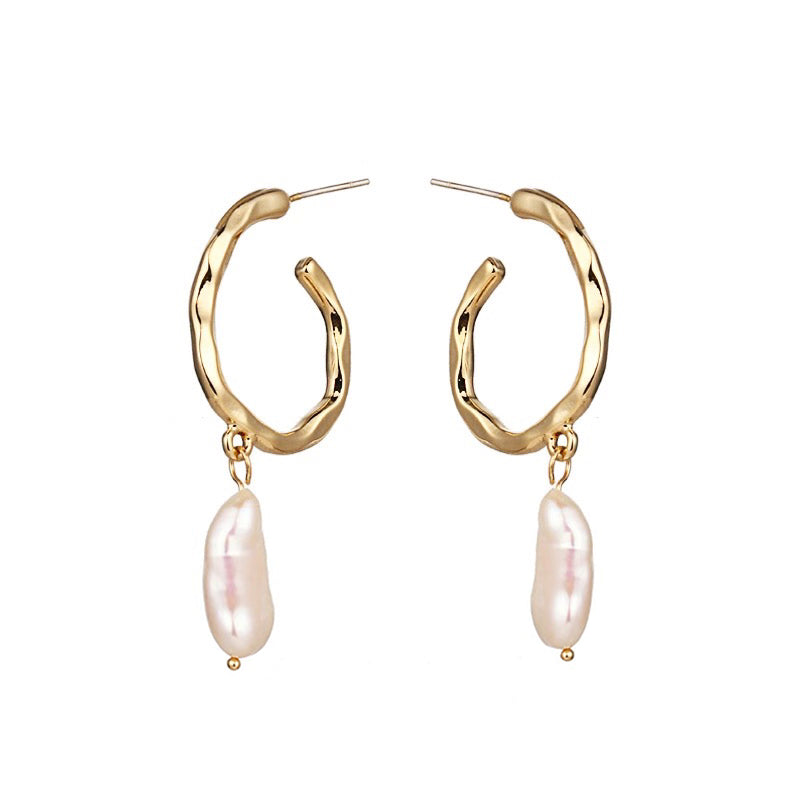 In A Perfect World IAPW jewelry baroque pearl crescent hoop stud earrings