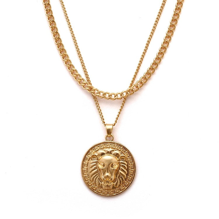 In A Perfect World IAPW jewelry layered lion head pendant gold necklace