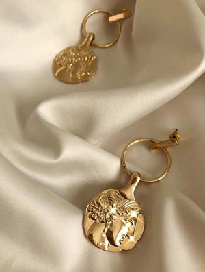 In A Perfect World vintage gold coin face medallion drop studs earring