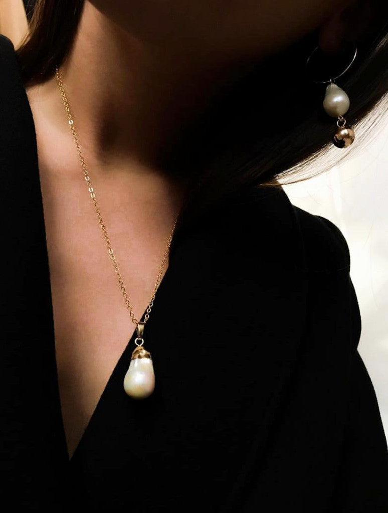 In A Perfect World IAPW jewelry modern baroque pearl drop dangle with suspending gold ball earrings