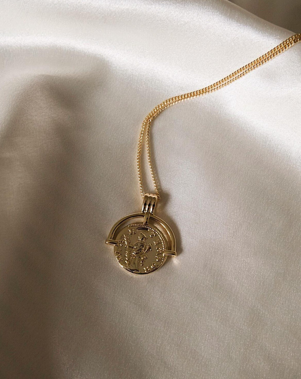 In A Perfect World IAPW Augustine jewelry vintage saint warrior medallion coin pendant gold necklace