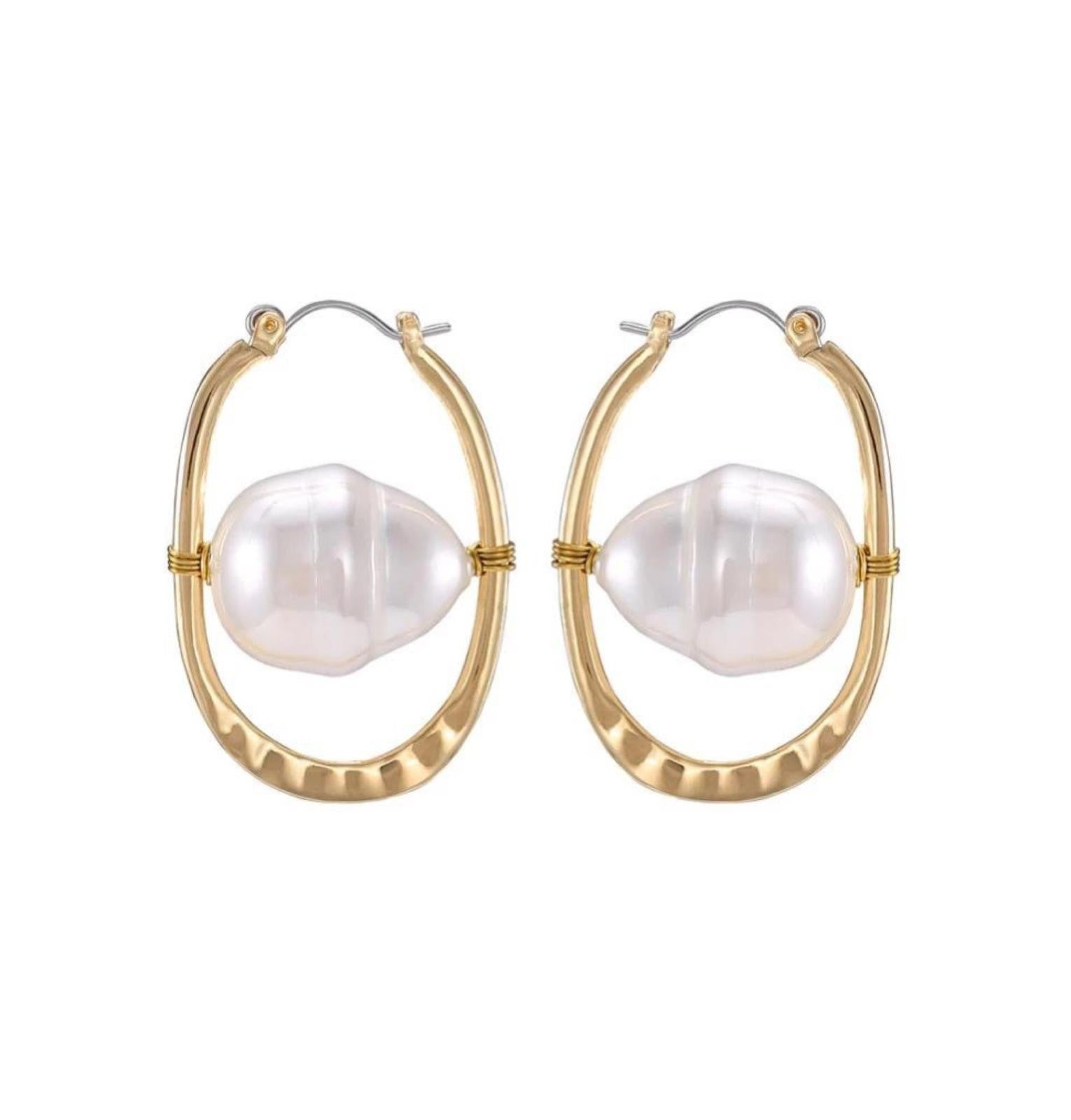 In A Perfect World IAPW Iris gold freshwater pearl earring