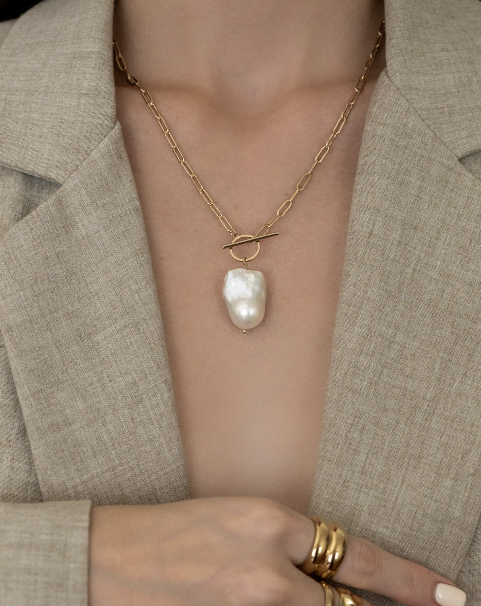 In A Perfect World Baroque freshwater pearl necklace with toggle clasp