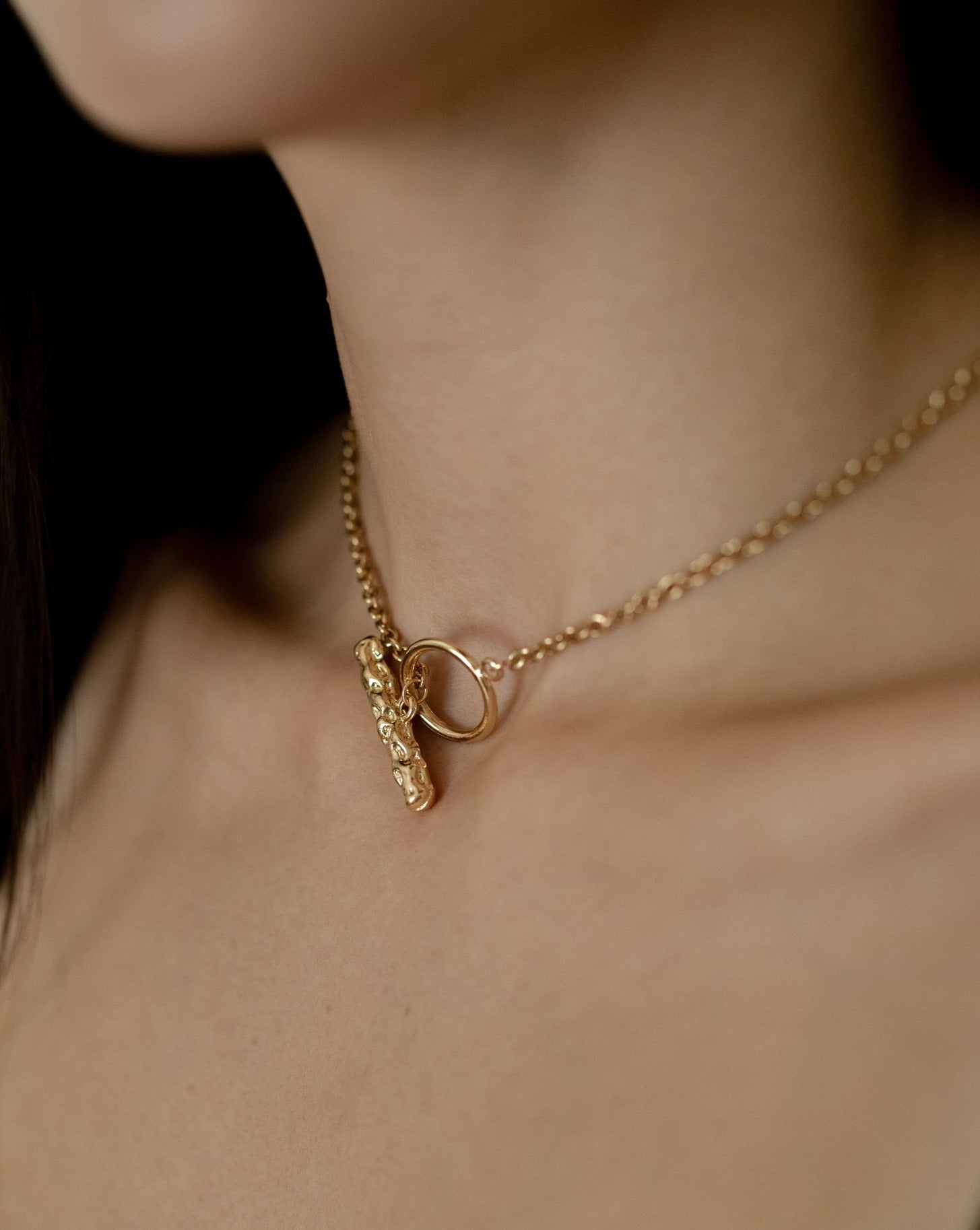 In A Perfect World Ceres necklace minimalistic necklace hammered toggle clasp