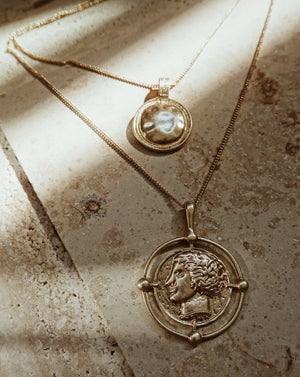 In A Perfect World Venus vintage medallion layered pendant coin gold necklace