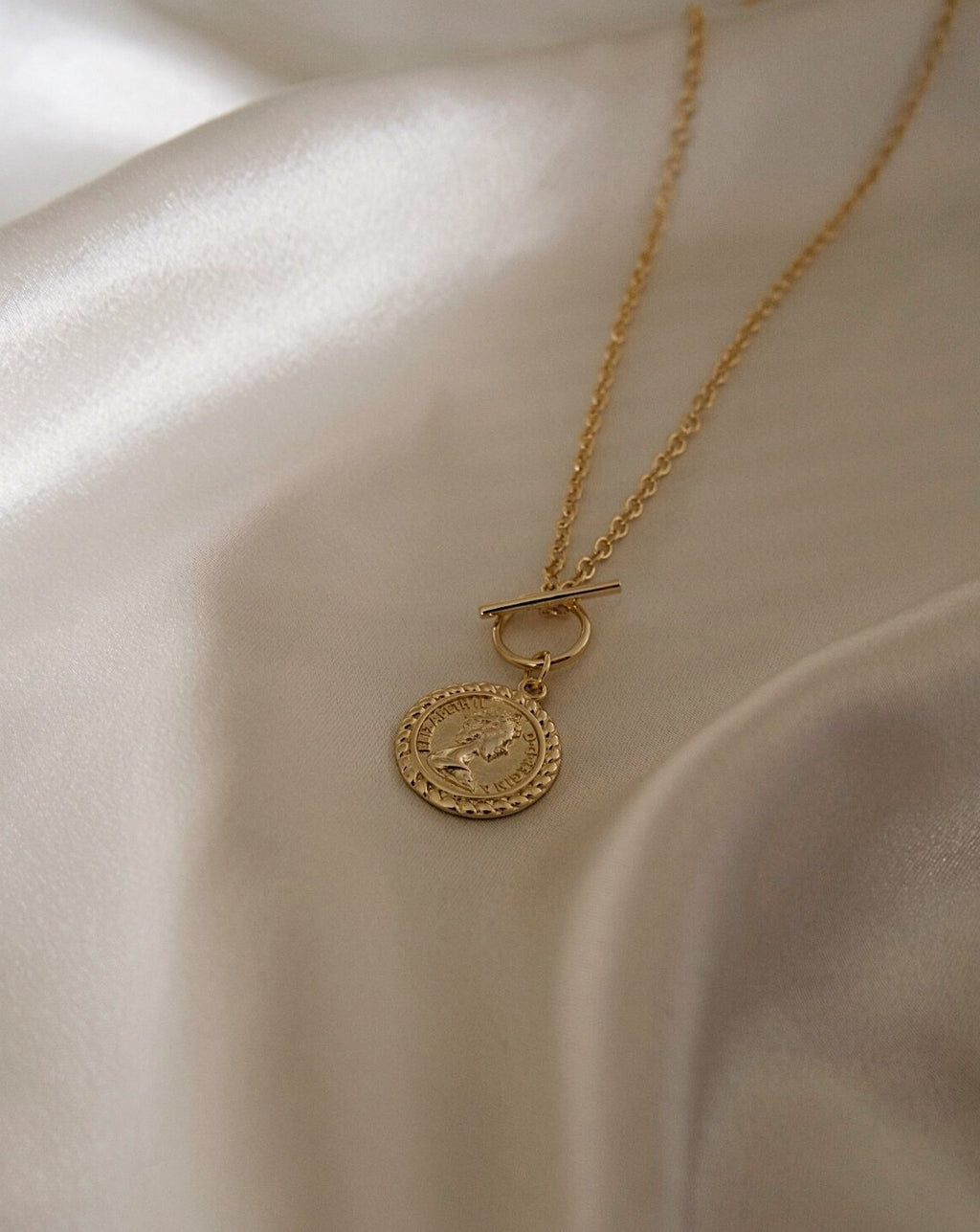 In A Perfect World IAPW jewelry Valentina vintage doublesided coin pendant gold necklace toggle clasp