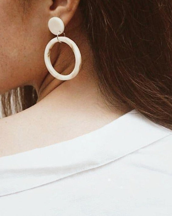 In A Perfect World Vanilla cream stud with hollow circle hoop earring