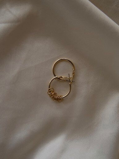In A Perfect World IAPW jewelry Rae classic asymmetric clasp hoop with mini rings gold earring