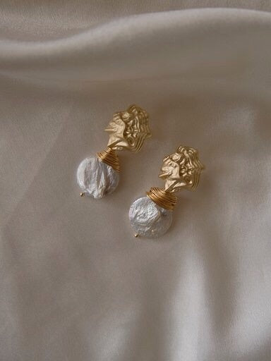 In a perfect world IAPW Agatha Vintage classic gold large baroque pearl earring accessories