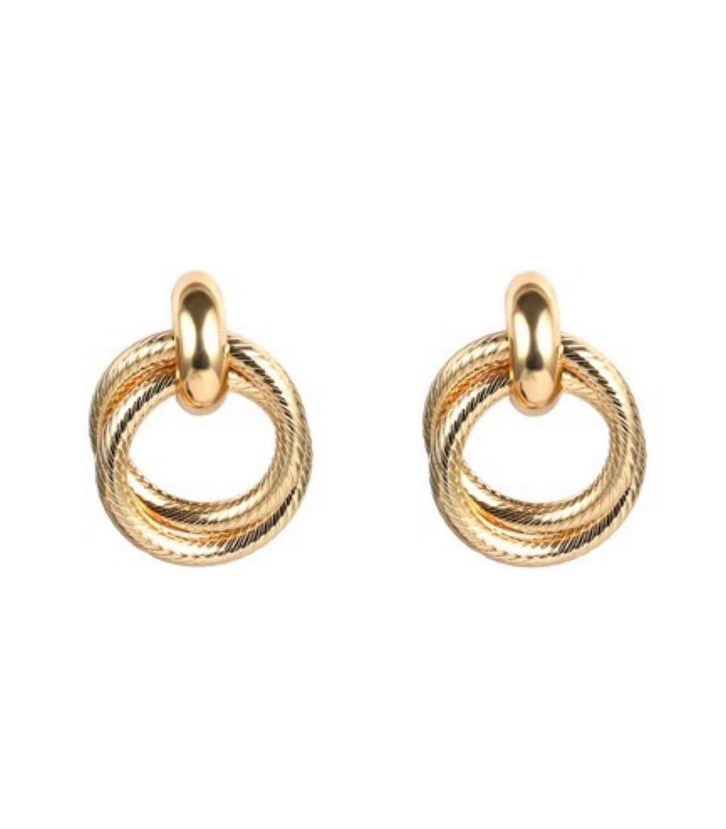 In A Perfect World IAPW jewelry Thea classic bold interlocked rope-like rings gold stud earring