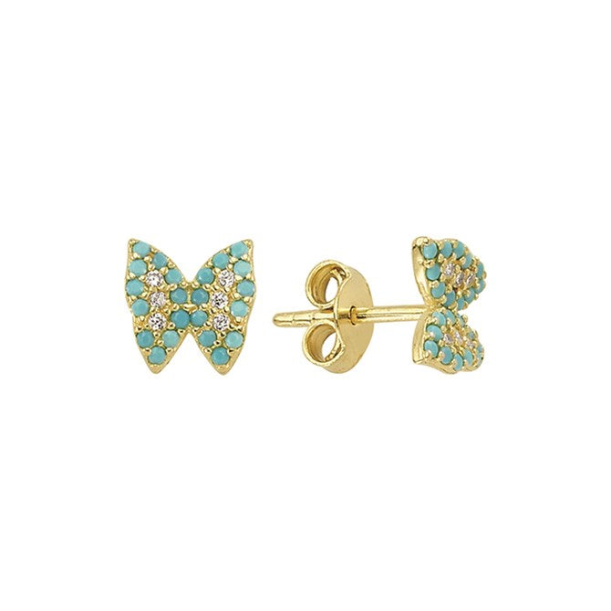 BUTTERFLY TURQUOISE CZ STUDS