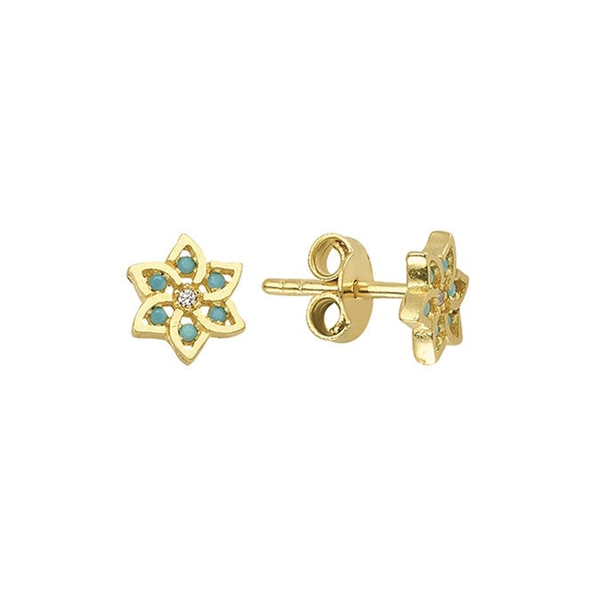 TURQUOISE FLOWER CZ STUDS
