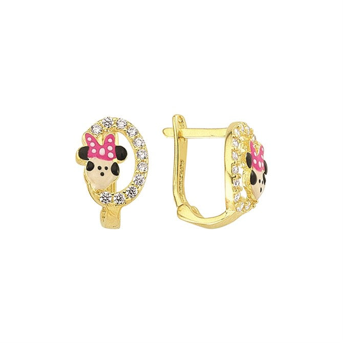 MINNIE MOUSE ROUND PAVE EARRINGS