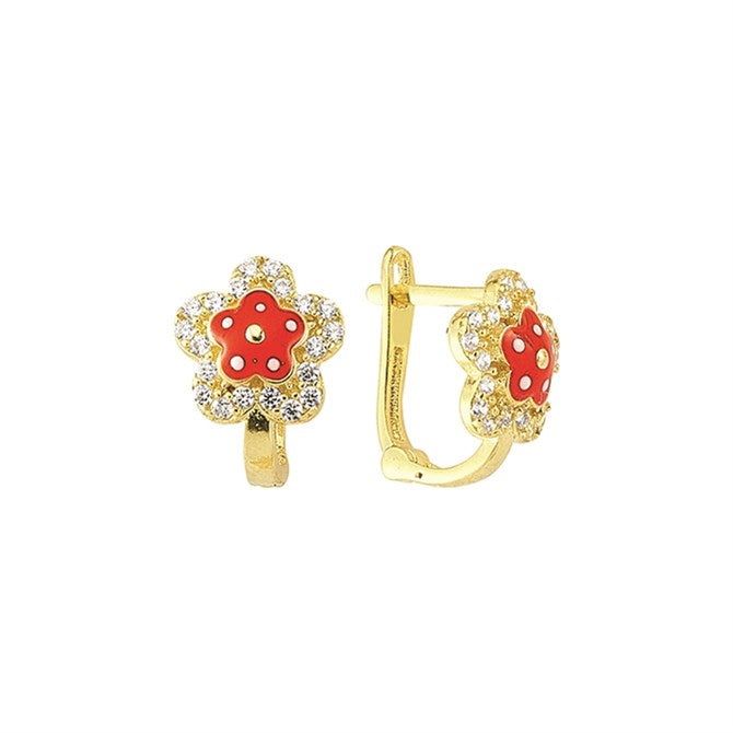 RED CZ DAISY EARRINGS
