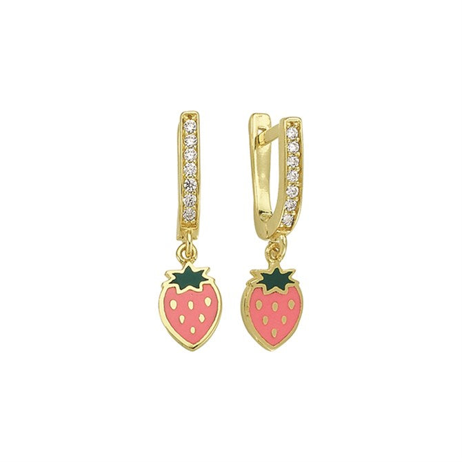 STRAWBERRY PAVE CZ EARRINGS