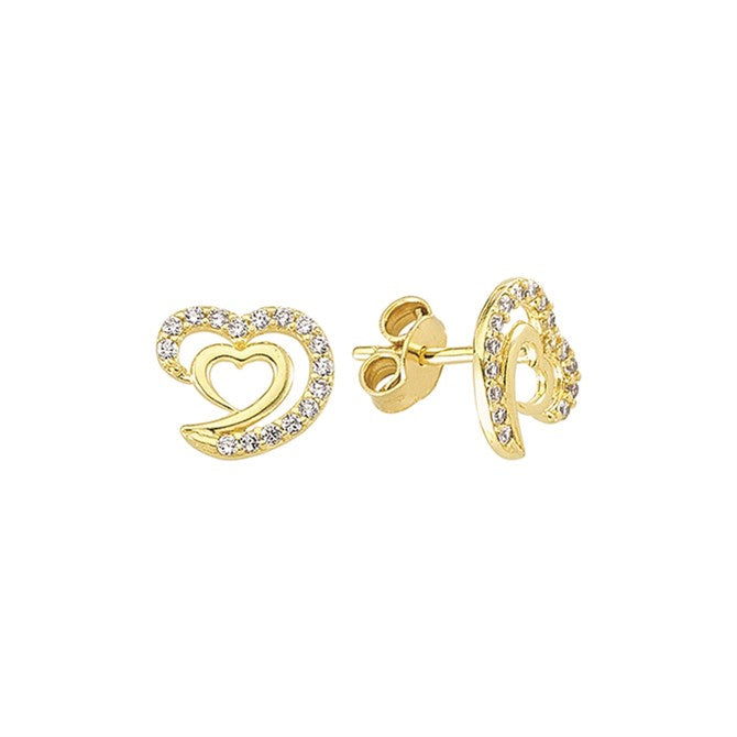 PAVE DOUBLE HEART STUDS
