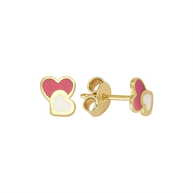 PINK & WHITE HEART STUDS