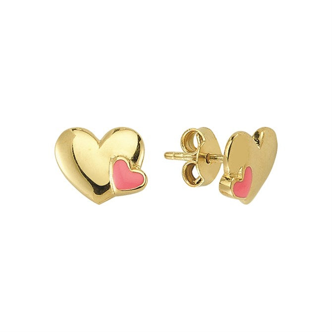 SOLID GOLD PINK HEART STUDS