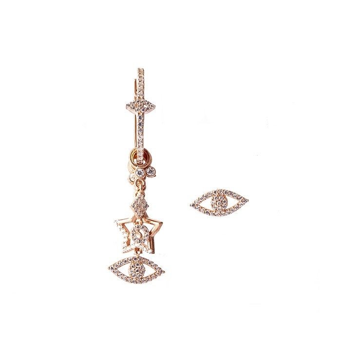 EVIL EYE STUD & HOOP SET - VENUS, MOON & HEART CHARM