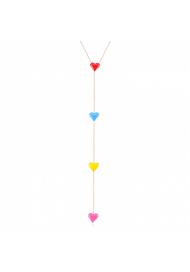ENAMEL HEART RAINBOW NECKLACE