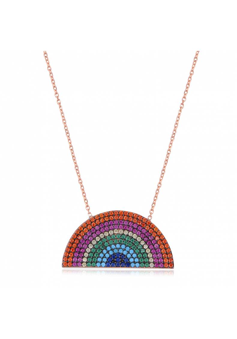 RAINBOW SHAPED STONE NECKLACE