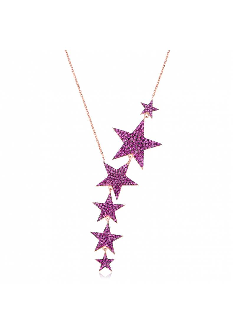 CASCADING PINK STAR NECKLACE