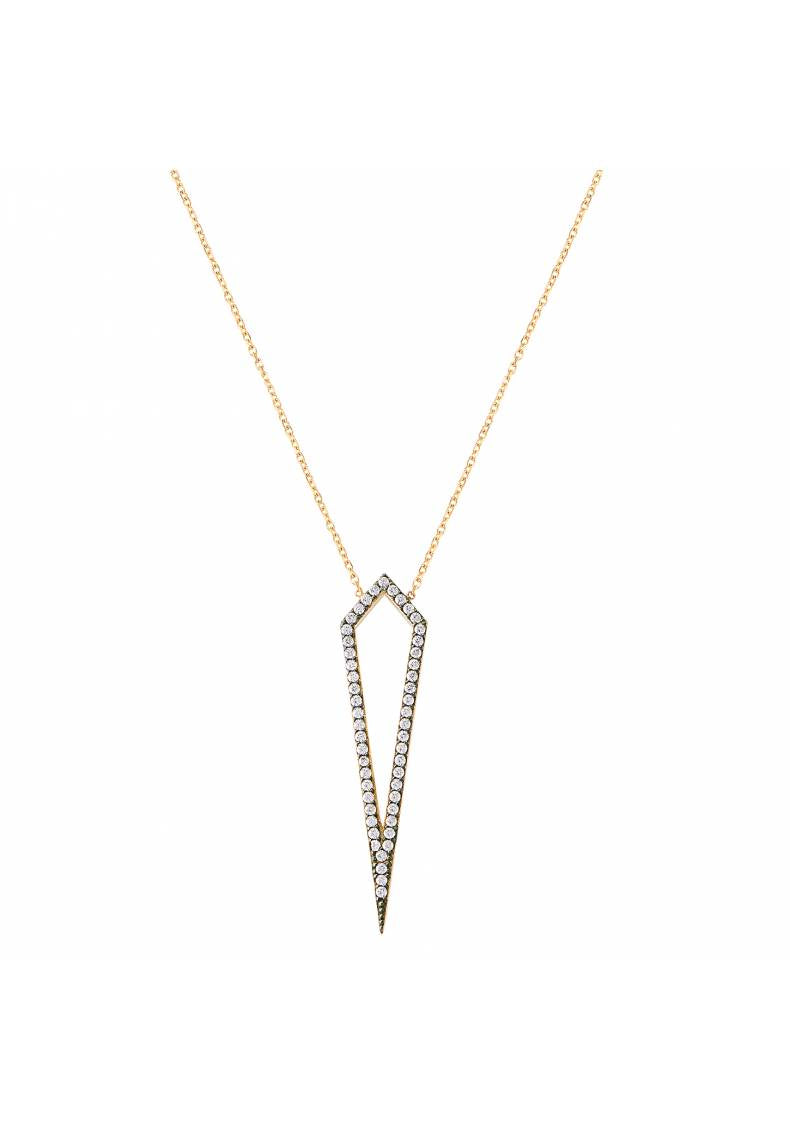 POINTED PAVE STERLING SILVER NECKLACE
