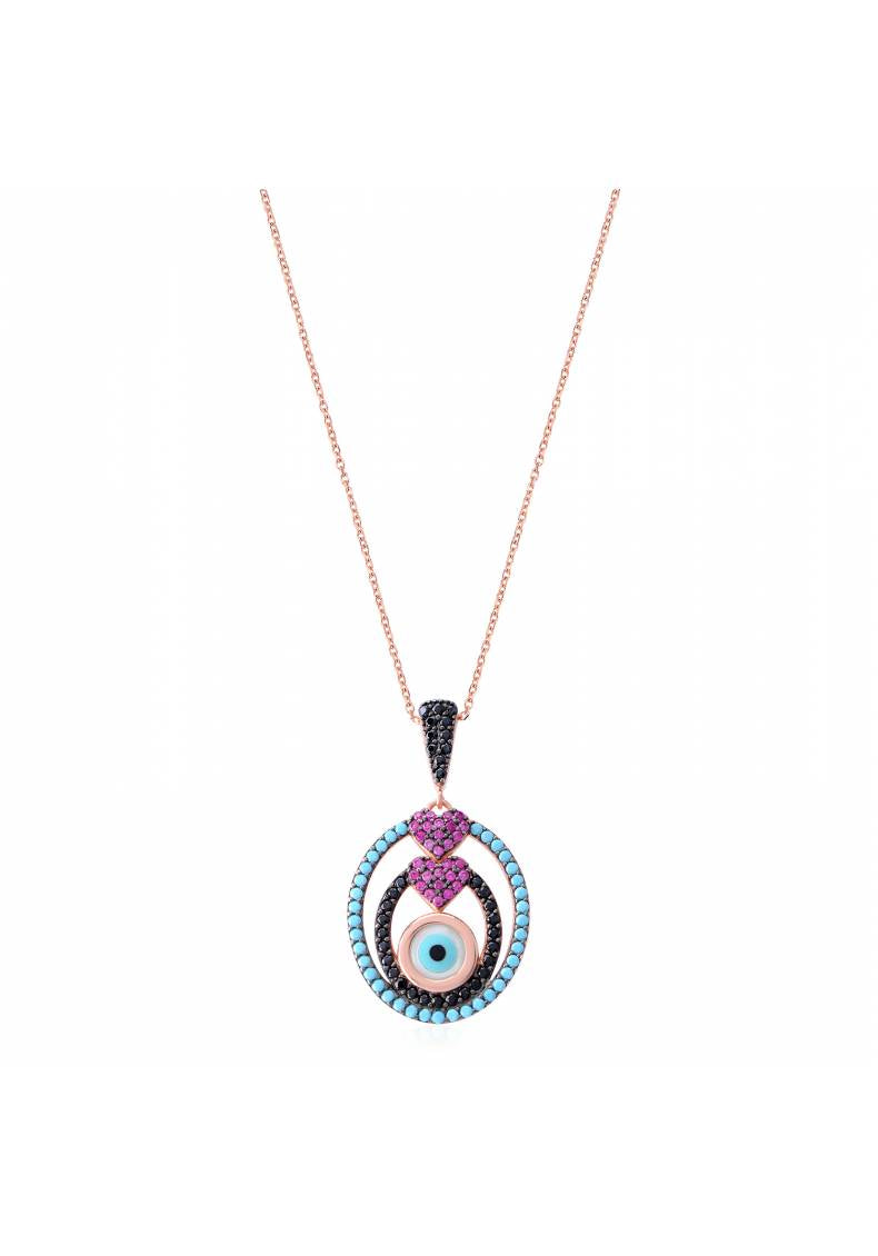 COLORFUL EYE DOUBLE HEART NECKLACE