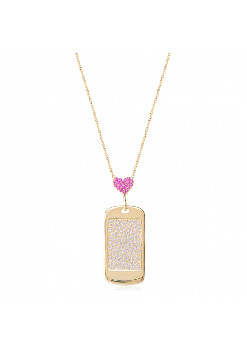 PINK HEART DOG TAG NECKLACE